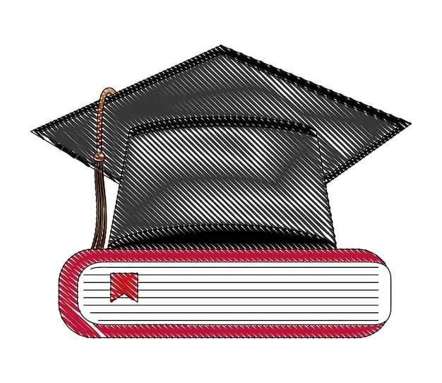 Hut-abschluss mit bücher-vektor-illustration-design