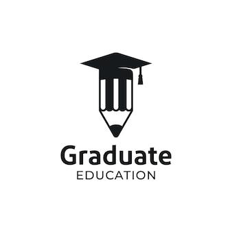 Hut für hochschulabsolventen mit bleistift-logo-design