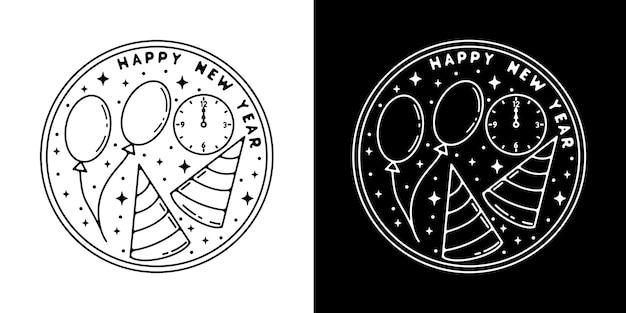 Hut mit ballon und uhr monoline design