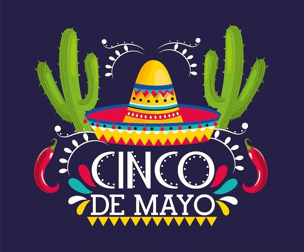Hut mit kaktuspflanzen zu mexikanischem ereignis