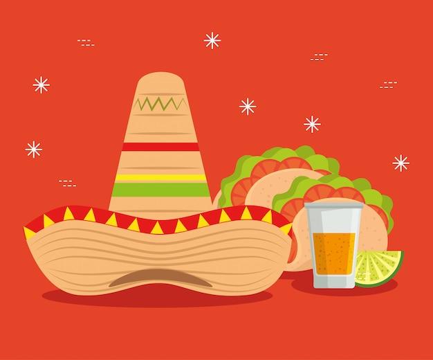 Hut mit tacos und tequila zum mexiko-ereignis