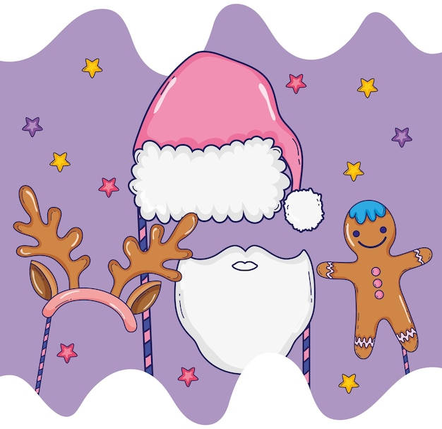 Hut und bär zu santa claus kostüm und keks