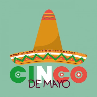 Hutdesign, kulturtourismus-marksteinlatein cinco des mayo mexiko und parteithema vector illustration