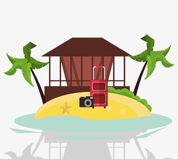 Hutkofferkamera entspannen sich ferieninsel