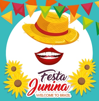 Hutmundsonnenblumen und -fahnen mit festa junina unterzeichnen vorbei aquamarinen und blauen hintergrundvektor illustr