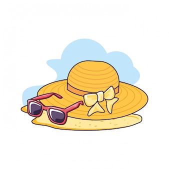 Hutweide im strand mit sonnenbrille