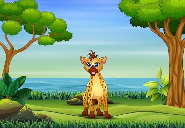 Hyänenkarikatur, die im park spielt