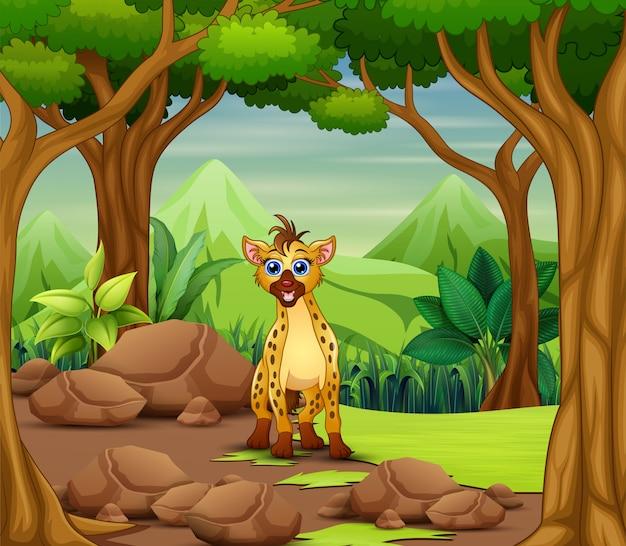 Hyänenkarikatur, die im wald lebt
