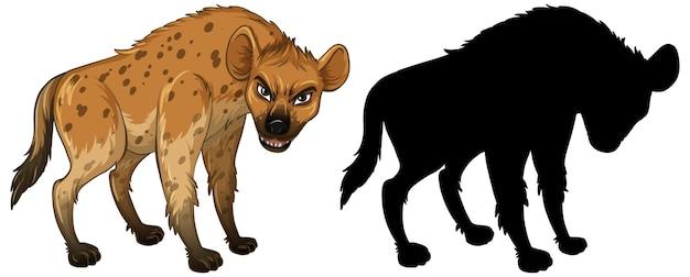 Hyänenzeichen und seine silhouette auf weißem hintergrund