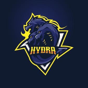 Hydra maskottchen logo mit moderner illustration
