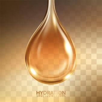 Hydratation öl-effekt, nahaufnahme blick auf kosmetische öl textur isoliert auf transparentem hintergrund in 3d-illustration