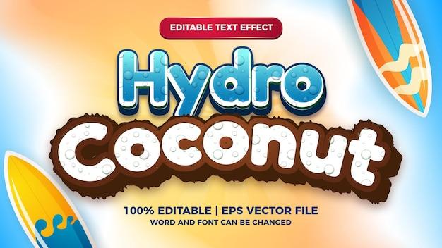 Hydro kokos bearbeitbarer texteffekt cartoon comic-spielstil