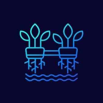 Hydroponik-linienvektorsymbol mit pflanzen
