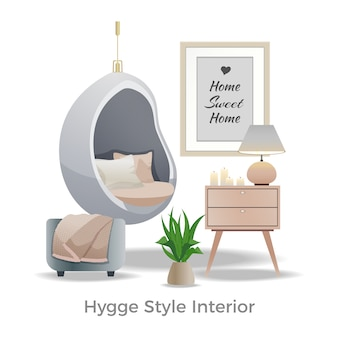 Hygge art innenarchitektur illustration