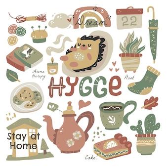 Hygge mit schriftzug. hygge elemente niedlichen handgezeichneten skandinavischen stil