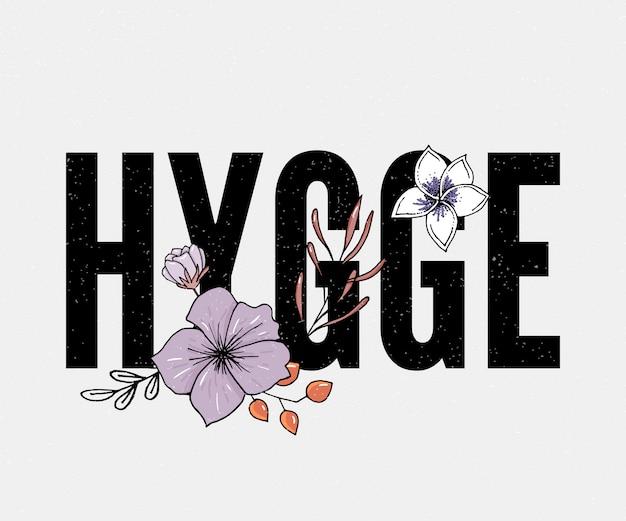 Hygge slogan. übergeben sie beschriftung auf dunkelblauem hintergrund auf thema des hygge lebensstils