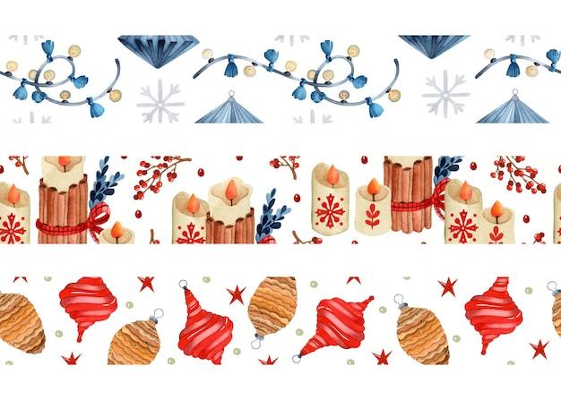 Hygge weihnachten aquarell nahtlose grenzen gesetzt