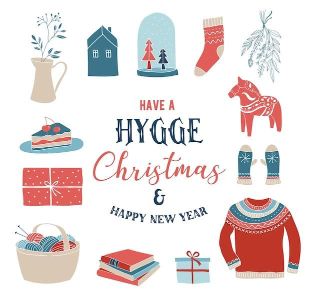 Hygge winterelemente und -konzept, frohe weihnachtskarte, fahne, hintergrund