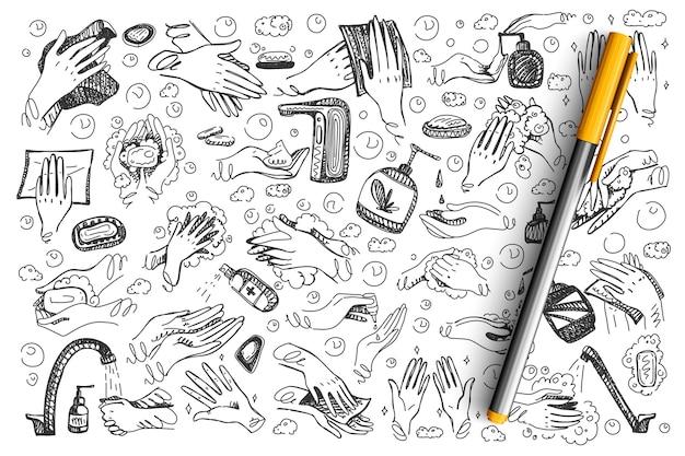 Hygiene-doodle-set. hand gezeichnete hände mit desinfektionsmittel coronavirus antiseptikum waschgel spray