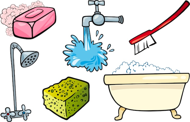 Hygiene-objekte-cartoon-illustration-set