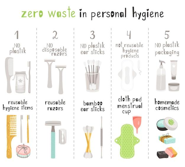 Hygiene ohne abfall. körperpflege mit langlebigen und wiederverwendbaren natürlichen öko-artikeln ohne plastik, holzzahnbürste und -kamm, bambus-ohrstäben und selbstgemachten kosmetikobjekten