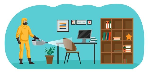 Hygienebehandlung, desinfektion des wohnzimmers. vernichtungsdienst. ein spezialist für einen chemischen anzug und ein atemschutzgerät sprüht die oberfläche.