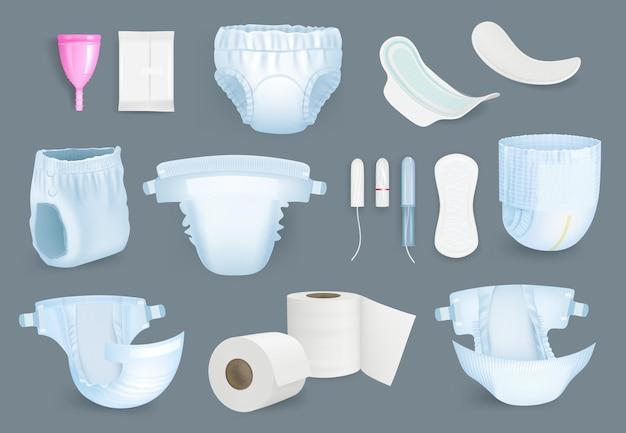 Hygieneprodukte. weiche und frische hygieneartikel für den täglichen komfort windeln toilettenpapier servietten handtücher tampons weibliche pads vektorrealistische kollektion
