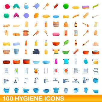 Hygienesymbole eingestellt. karikaturillustration von hygienesymbolen auf weißem hintergrund eingestellt