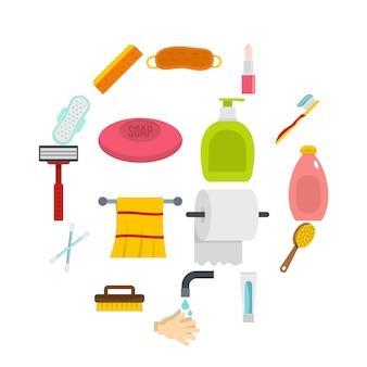 Hygienewerkzeugikonen eingestellt in flache art