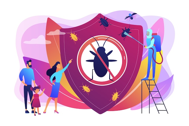 Hygienische haushaltsdesinfektion. chemische behandlung insekten. schädlingsbekämpfung zu hause, schädlingsbekämpfungsservice, ausrüstungskonzept für insektenthrips. helle lebendige violette isolierte illustration