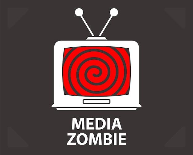 Hypnose auf einer alten flachen vektorillustration der schlechten propaganda des fernsehens