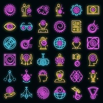 Hypnose-icons gesetzt. umrisse von hypnose-vektorsymbolen neonfarbe auf schwarz