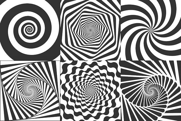 Hypnotische spirale. wirbel hypnotisieren spiralen, schwindel geometrische illusion und rotierende streifen runden muster vektor-illustration gesetzt