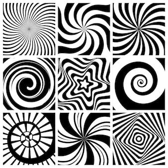 Hypnotischer hintergrund. kreisförmige strudeltapete spiraldrehung runde formen geometrische abstrakte linien sammlung.