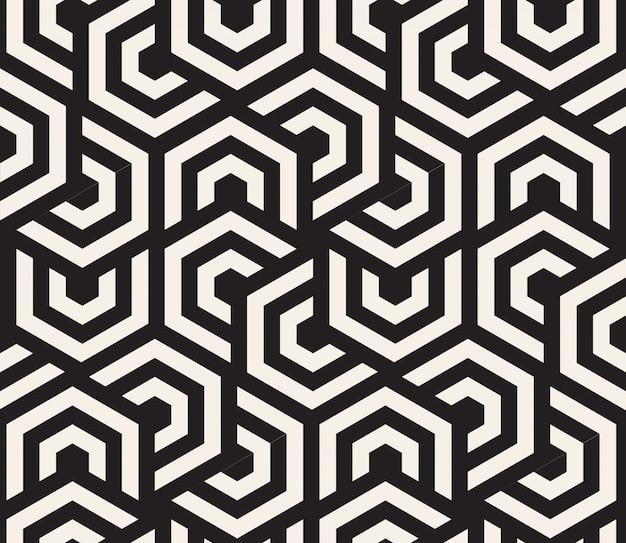 Hypnotischer schwarzweiss-hintergrund. abstraktes nahtloses muster. illustration