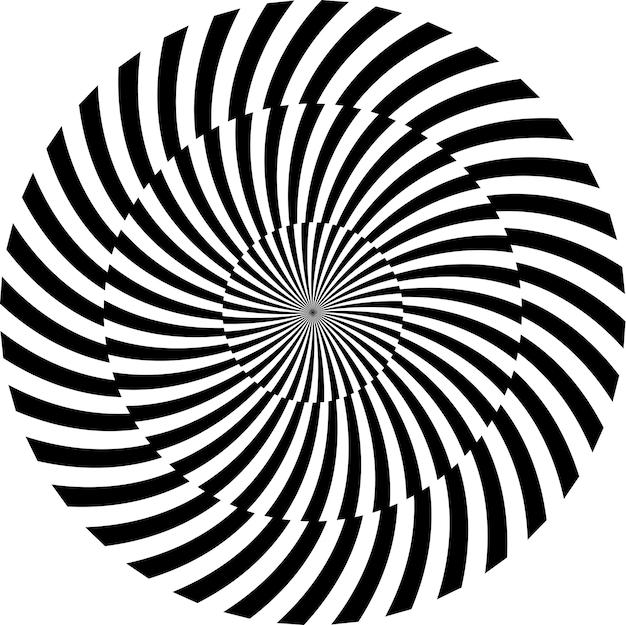 Hypnotischer schwarzweiss-hintergrund. vektor-illustration