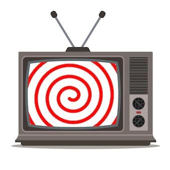 Hypnotisches bild auf einer alten fernsehillustration