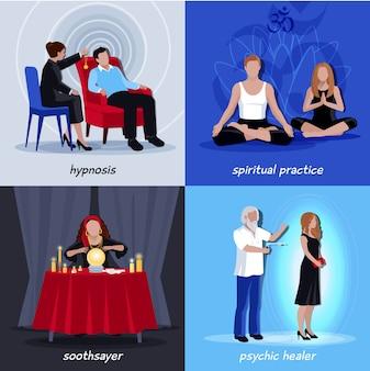 Hypnotism extrasensory icon set
