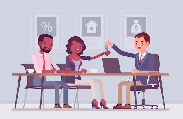 Hypothek für eine schwarze familie in einer bank
