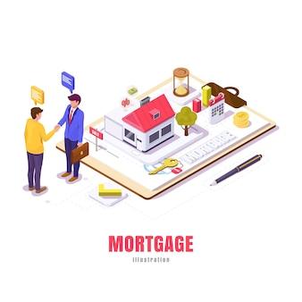Hypothek in isometrischer, junger mann verhandelt ein hypothekenhaus mit makler