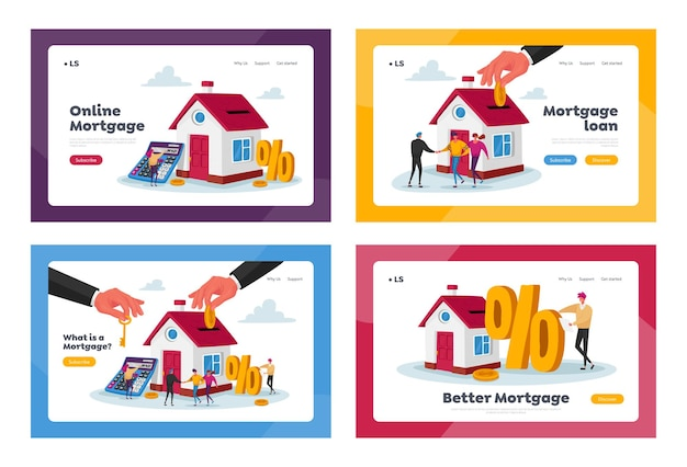 Hypothek und home buying landing page template set