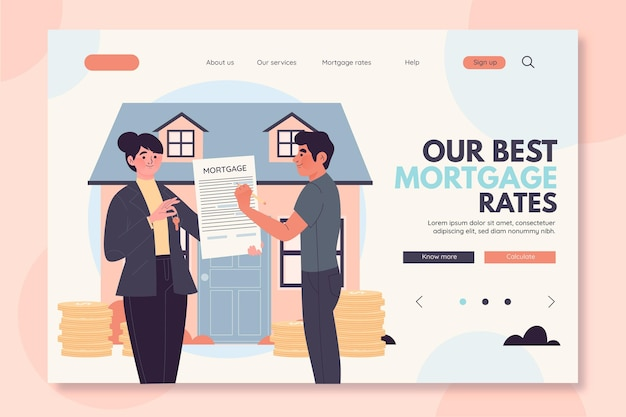Hypotheken-landingpage-konzept Kostenlosen Vektoren