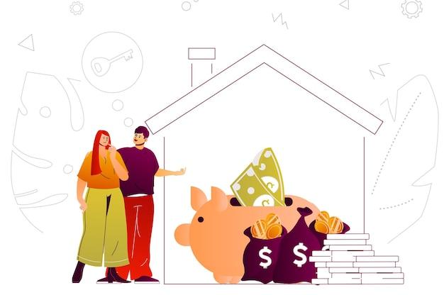 Hypotheken-web-konzept-paar, das ein neues haus mit finanzinstrumenten für bankdarlehen kauft Premium Vektoren