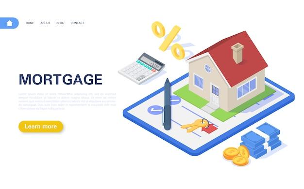 Hypothekenbanner-konzept. wohngebäude mit einem hypothekenvertrag auf einem weißen hintergrund. kauf und vermietung von immobilien.