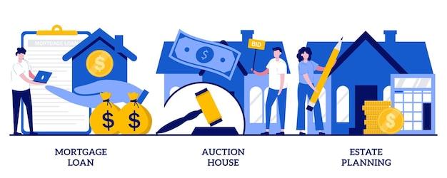 Hypothekendarlehen, auktionshaus, nachlassplanungskonzept mit winzigen leuten. wohn- und gewerbeimmobilien-vektor-illustration-set. immobiliendienstleistungen, anzahlung, anwalt beraten metapher.