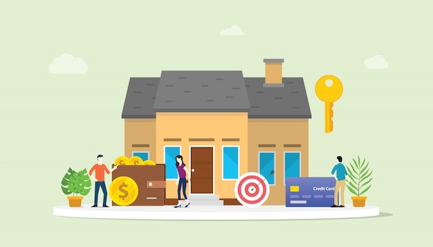 Hypothekendarlehen oder hausimmobilienkauf mit leuten und haus