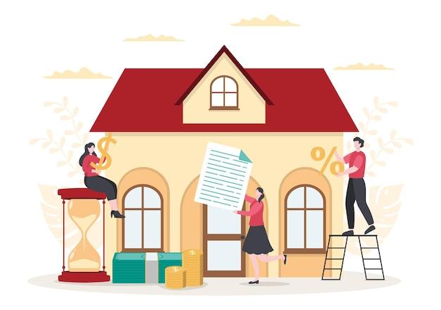 Hypothekendarlehen schuldtitel, die durch immobilienvermögen wie immobiliendienstleistungen, miete, hauskauf oder auktionshaus besichert sind. hintergrund-vektor-illustration