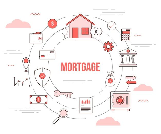 Hypothekengehäusekonzept mit satzschablonenfahne mit modernem orangen farbstil