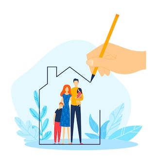 Hypothekenhaus für familie, handzeichnung nach hause eigentum, illustration. wohnungsbaudarlehen, immobilieninvestition für mutter vater