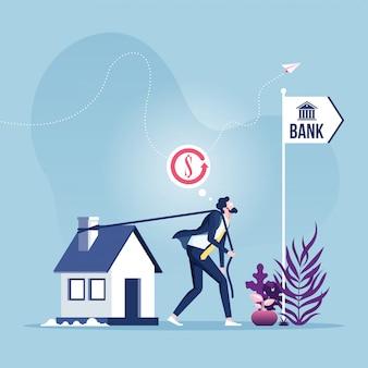 Hypothekenrefinanzierungsdarlehensgeschäftsmann, der haus zur bank schleppt.